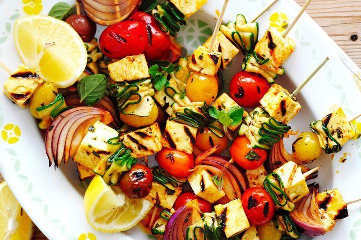 Hallumi kebabs grilled BBQ food ideas
